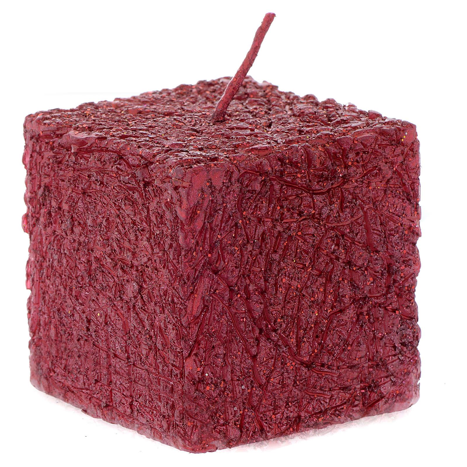 Bougie de Noël Comet cube 5x5 cm rouge 3