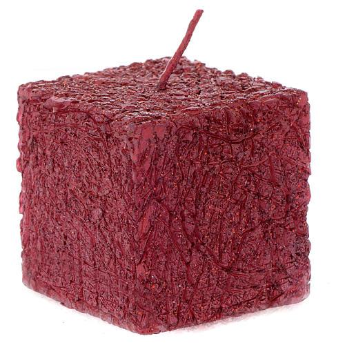 Bougie de Noël Comet cube 5x5 cm rouge 1