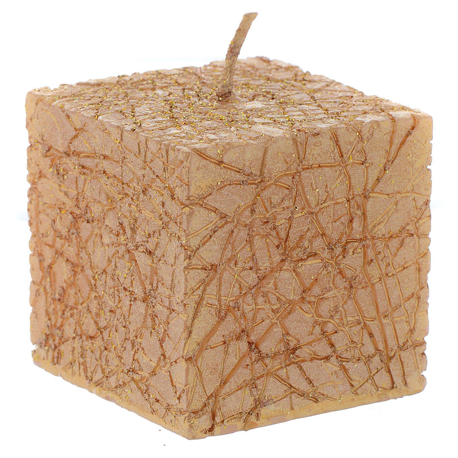 Bougie de Noël Comet cube 5x5 cm dorée 3