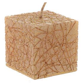 Bougie de Noël Comet cube 5x5 cm dorée s1