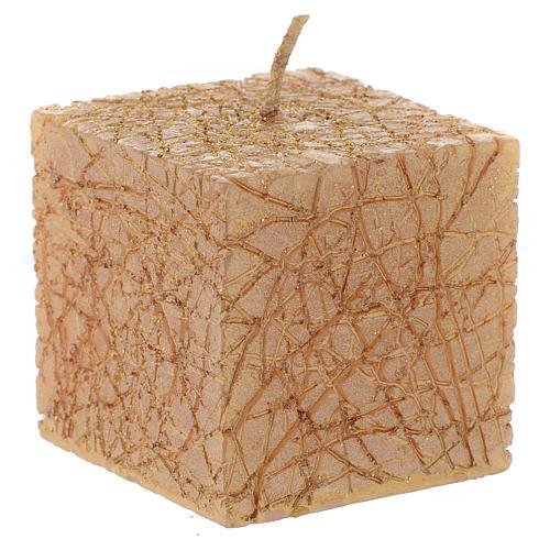 Bougie de Noël Comet cube 5x5 cm dorée 1