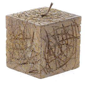 Bougies de Noel: Bougie de Noël Comet cube 5x5 cm cuivre