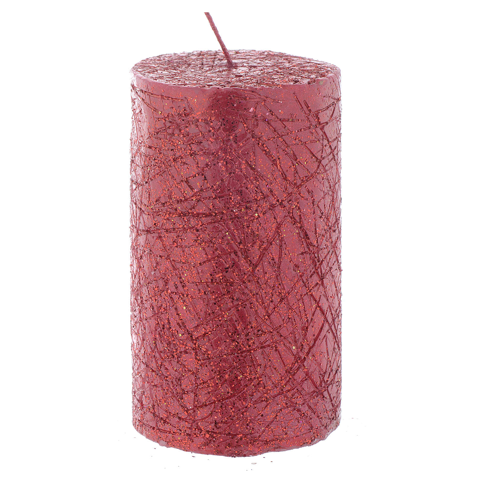 Christmas candle, comet model, cylinder shaped red colour 10x6cm 3