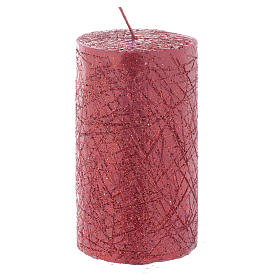 Christmas candle, comet model, cylinder shaped red colour 10x6cm s1