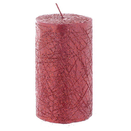 Christmas candle, comet model, cylinder shaped red colour 10x6cm 1