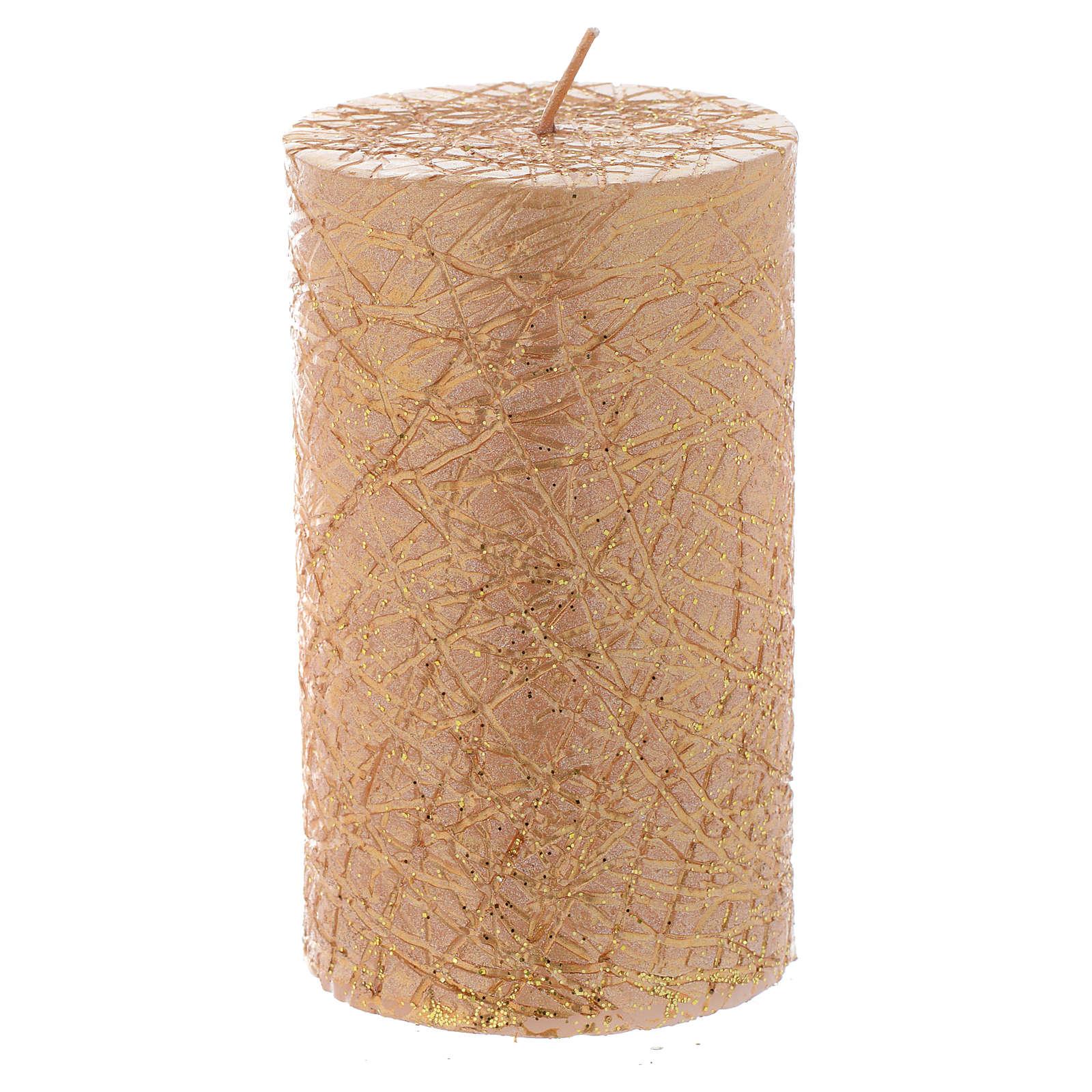 Bougie Noël Comet cylindre 10x6 cm dorée 3