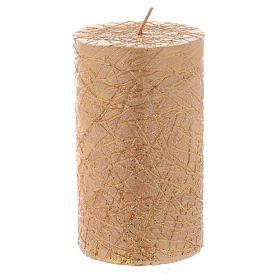 Bougies de Noel: Bougie Noël Comet cylindre 10x6 cm dorée