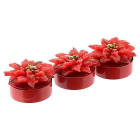 Bougie rose de Noël rouge 3 pcs s1