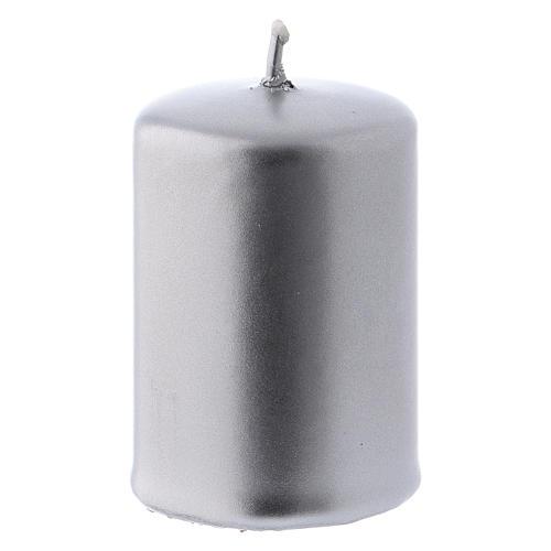 Candelotto Natale metallo argento Ceralacca 4x6 cm 2