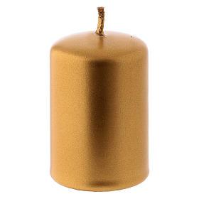 Vela Navidad metal oro Ceralacca 4x6 cm s1