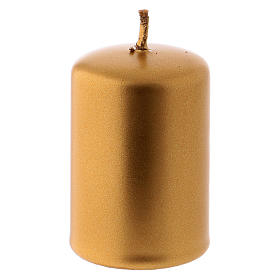 Metallic Gold Candle for Christmas 4x6 cm s2