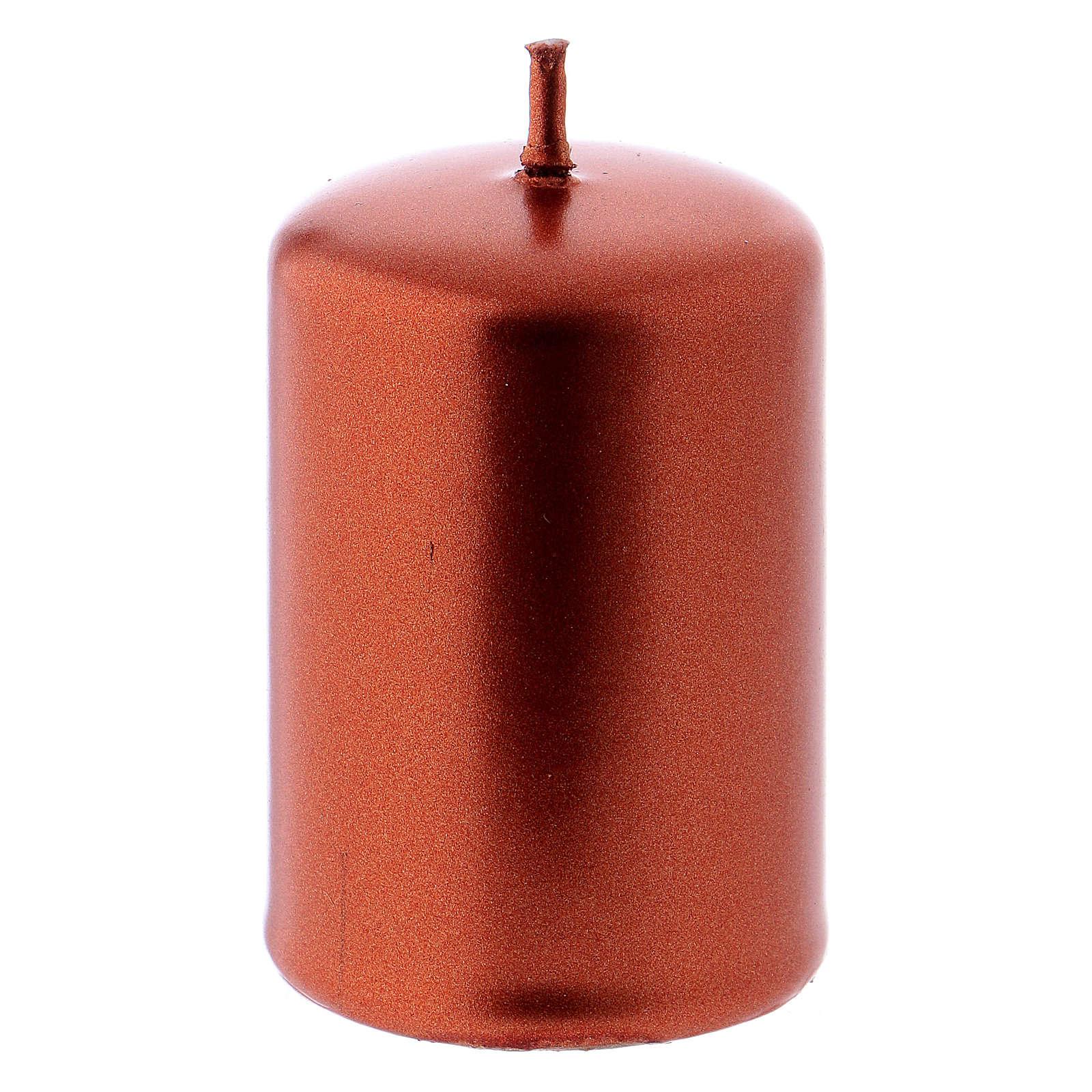 Vela cilíndrica Natal metal cobre Ceralacca 4x6 cm 3