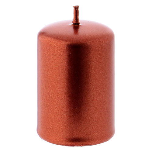 Pillar Christmas Candle, Ceralacca in copper, 4x6 cm 1