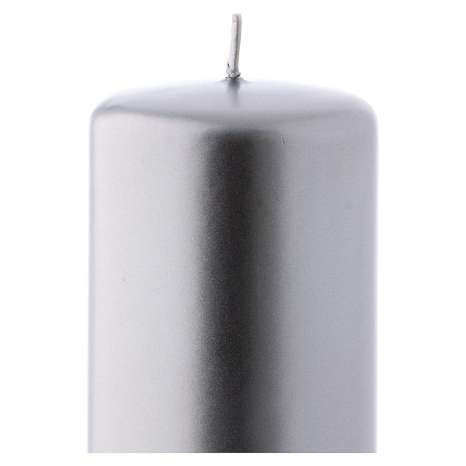 Christmas candle in silver-colour metal 6x15 cm 3