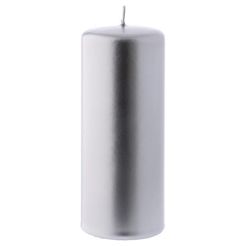Christmas candle in silver-colour metal 6x15 cm 1