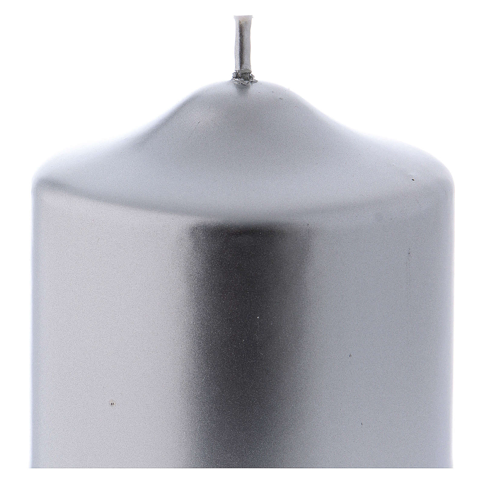 Christmas candle in silver-colour metal 8x8 cm 3