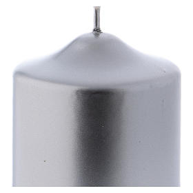 Christmas candle in silver-colour metal 8x8 cm s2