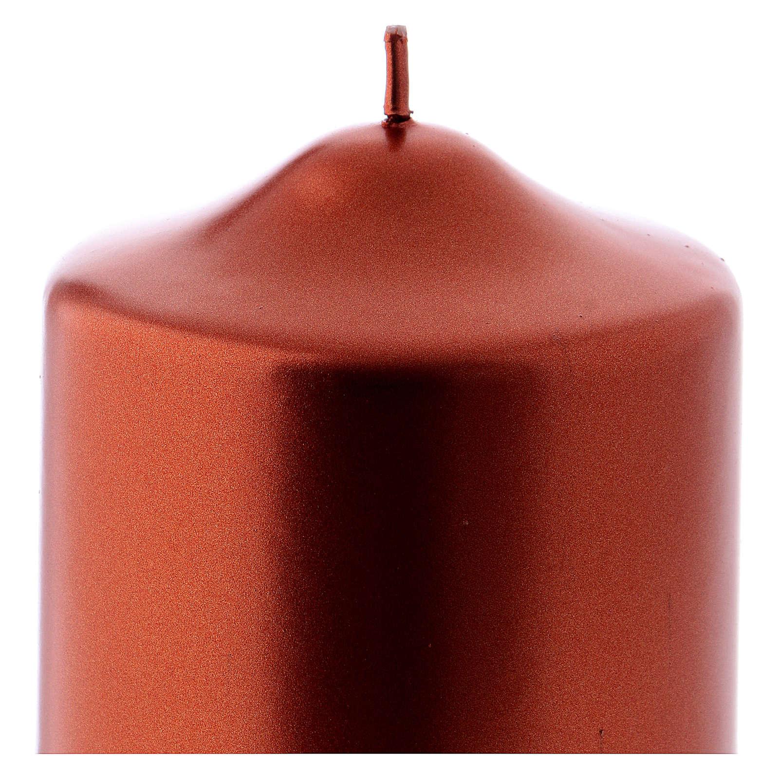 Weihanchtskerze Siegellack 8x8cm kupferfarbig 3