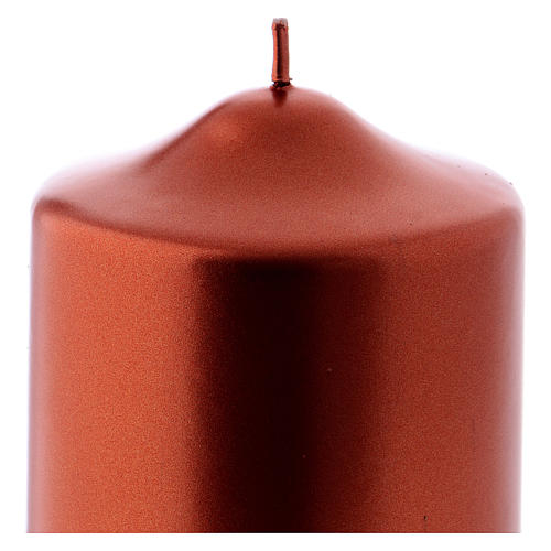 Weihanchtskerze Siegellack 8x8cm kupferfarbig 2