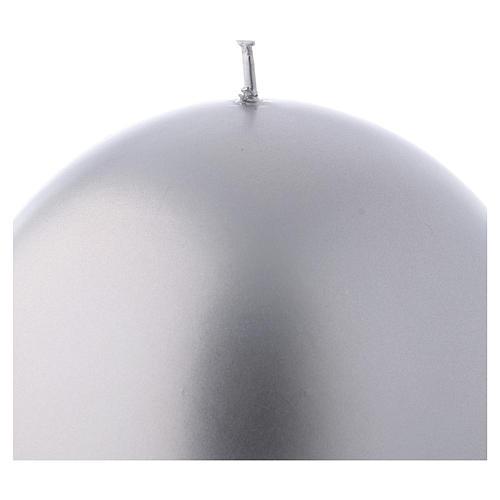 Bougie Noël sphère Ceralacca métal diam. 12 cm argent 2