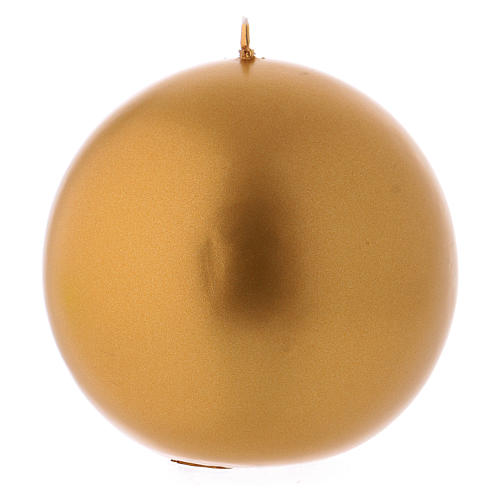 Round Christmas candle in wax, metallic effect golden diam. 10 cm 1