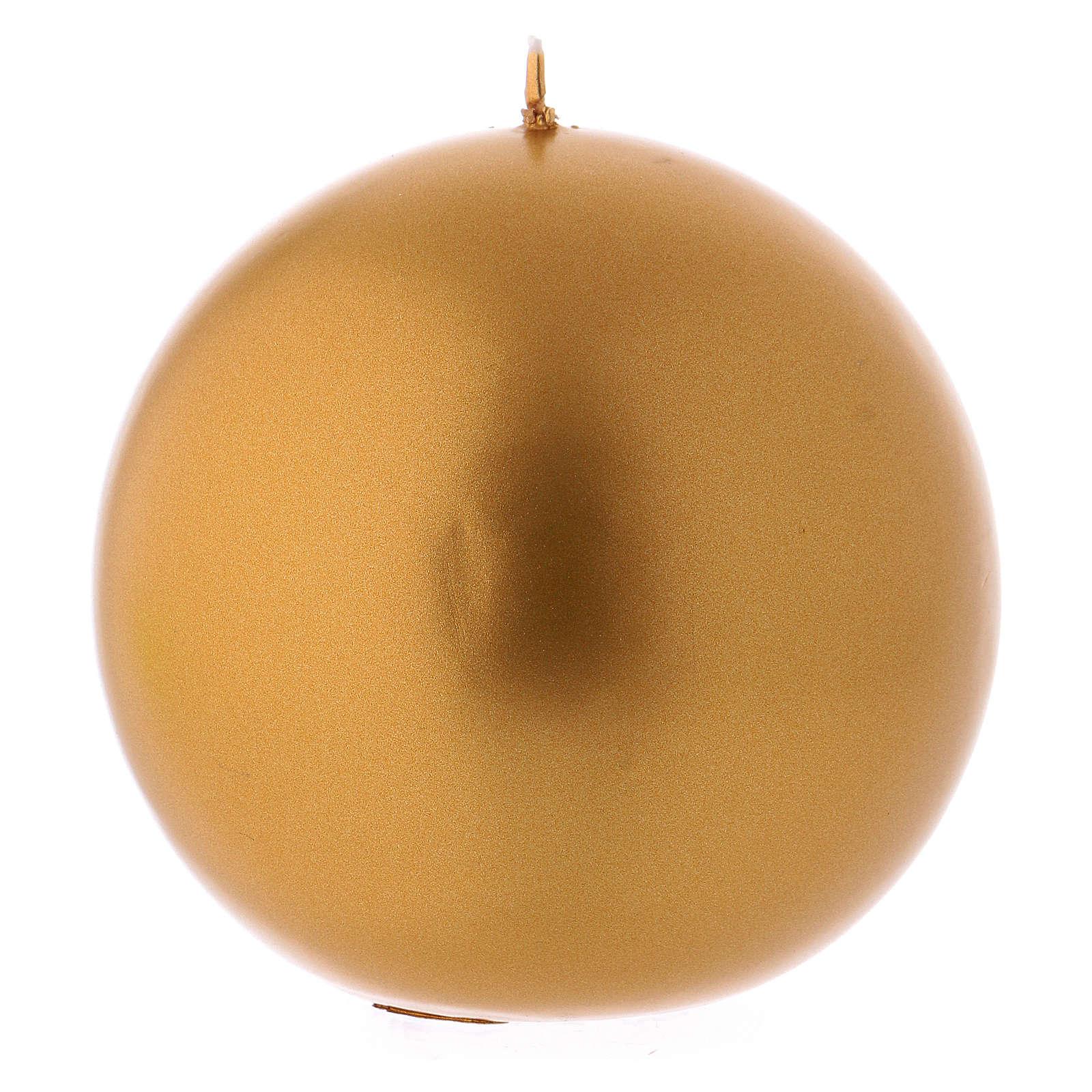 Candela Natalizia Sfera Lucida Ceralaccata Oro d. 10 cm 3