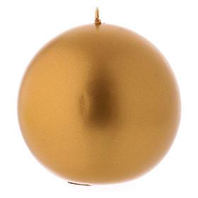 Candela Natalizia Sfera Lucida Ceralaccata Oro d. 10 cm s1