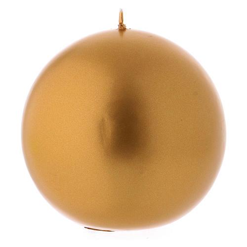 Candela Natalizia Sfera Lucida Ceralaccata Oro d. 10 cm 1