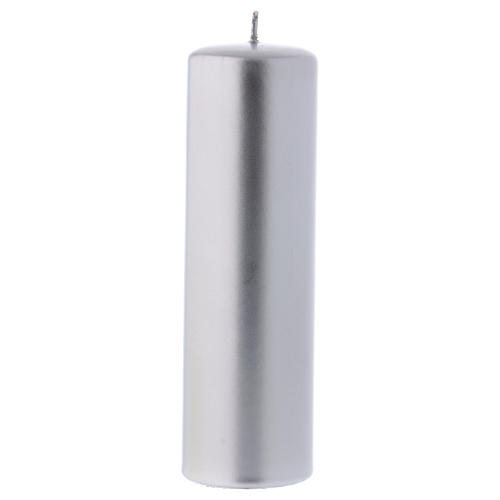 Christmas candle in wax, metallic effect silver 20x6 cm 1