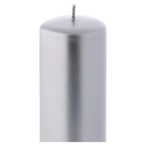 Christmas candle in wax, metallic effect silver 20x6 cm 2