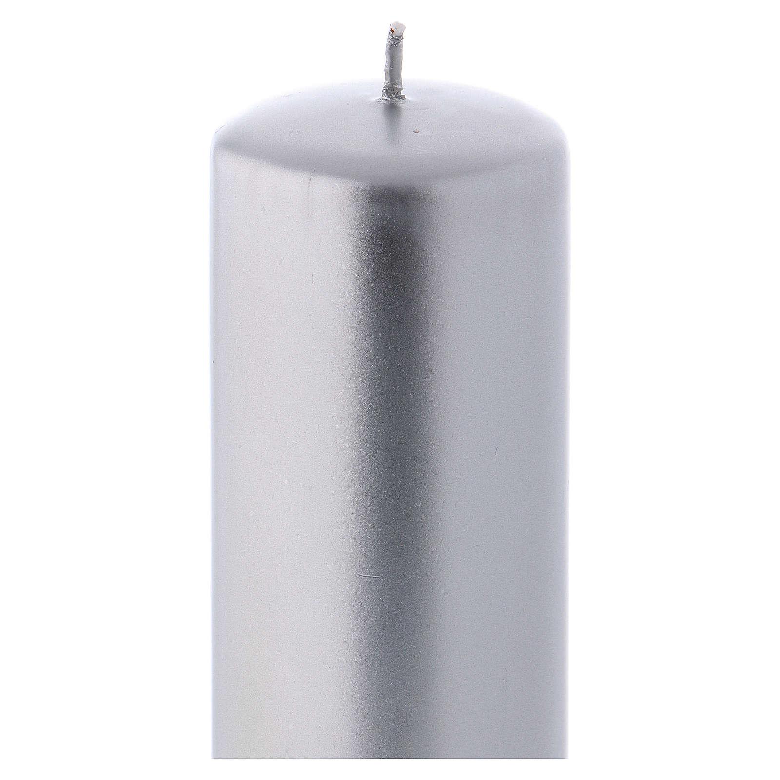 Vela Navideña color metálico Ceralacca 20x8 cm plata 3