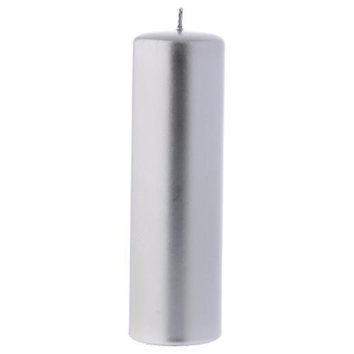 Candelotto Natalizio colore metallico Ceralacca 20x8 cm argento 1
