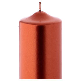 Christmas candle in wax, metallic effect copper 24x8 cm s2