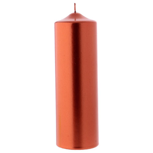 Christmas candle in wax, metallic effect copper 24x8 cm 1