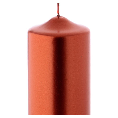 Christmas candle in wax, metallic effect copper 24x8 cm 2