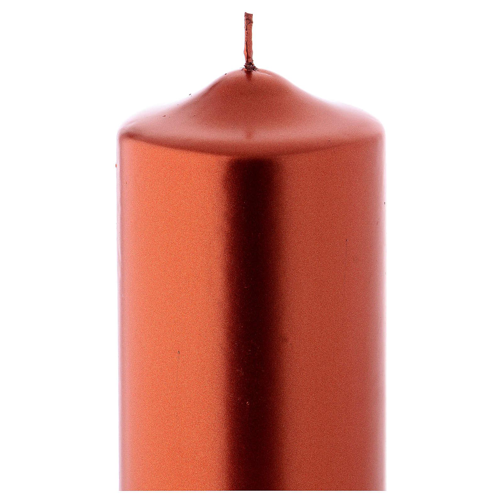 Vela de Natal efeito metálico Ceralacca 24x8 cm cor de cobre 3