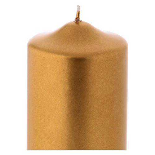 Vela de Natal acabamento metálico Ceralacca 15x8 cm ouro 2