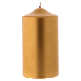 Christmas pillar candle in metallic gold, Ceralacca 15x8 cm s1