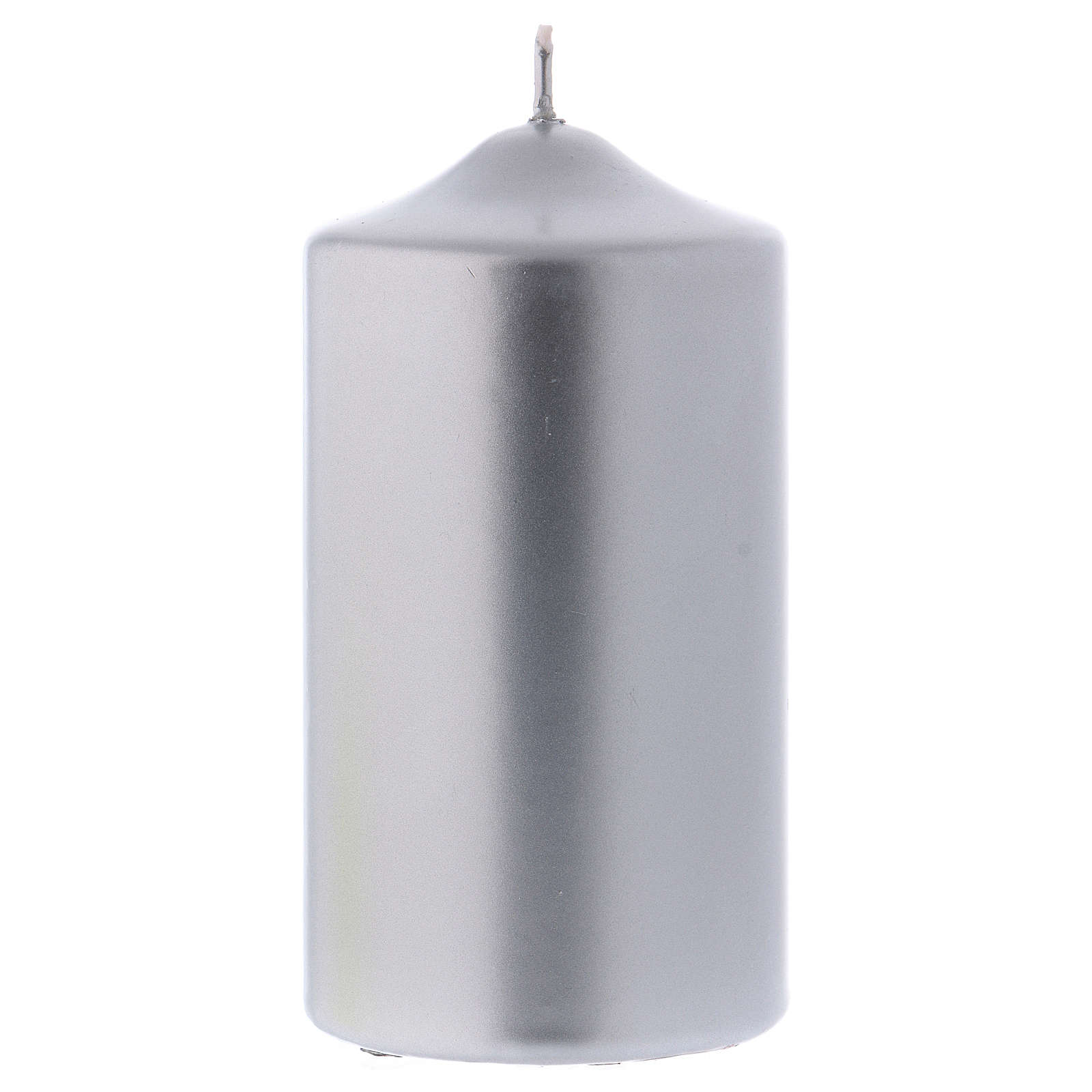 Christmas candle in wax, metallic effect silver 15x8 cm 3