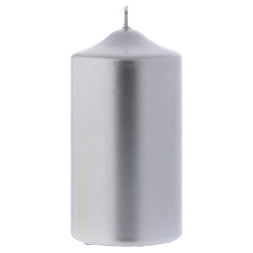 Christmas candle in wax, metallic effect silver 15x8 cm 1