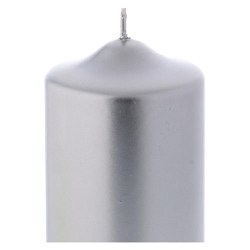 Christmas candle in wax, metallic effect silver 15x8 cm 2
