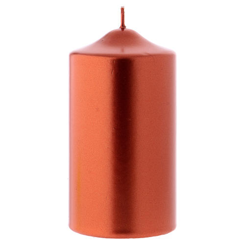 Christmas candle in wax, metallic effect copper 15x8 cm 1