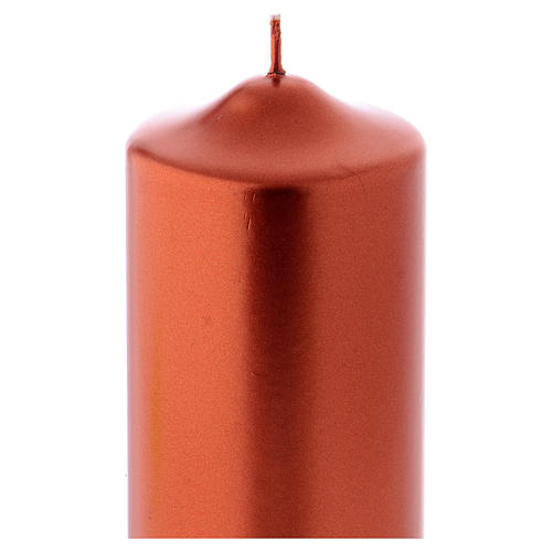 Christmas candle in wax, metallic effect copper 15x8 cm 2