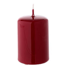 Shiny dark red Christmas pillar candle 60x40 mm s2