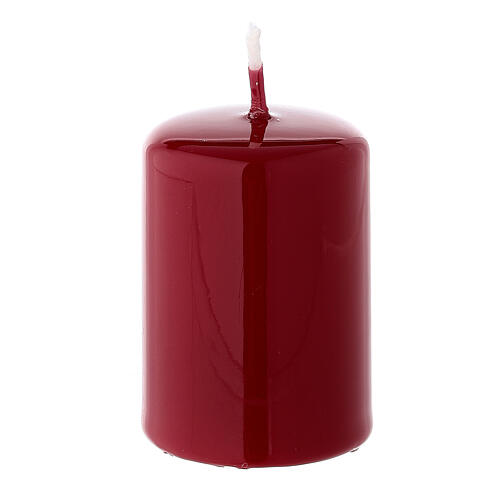 Shiny dark red Christmas pillar candle 60x40 mm 1