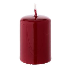 Vela navideña cilindro lacre rojo oscuro 60x40 mm s1
