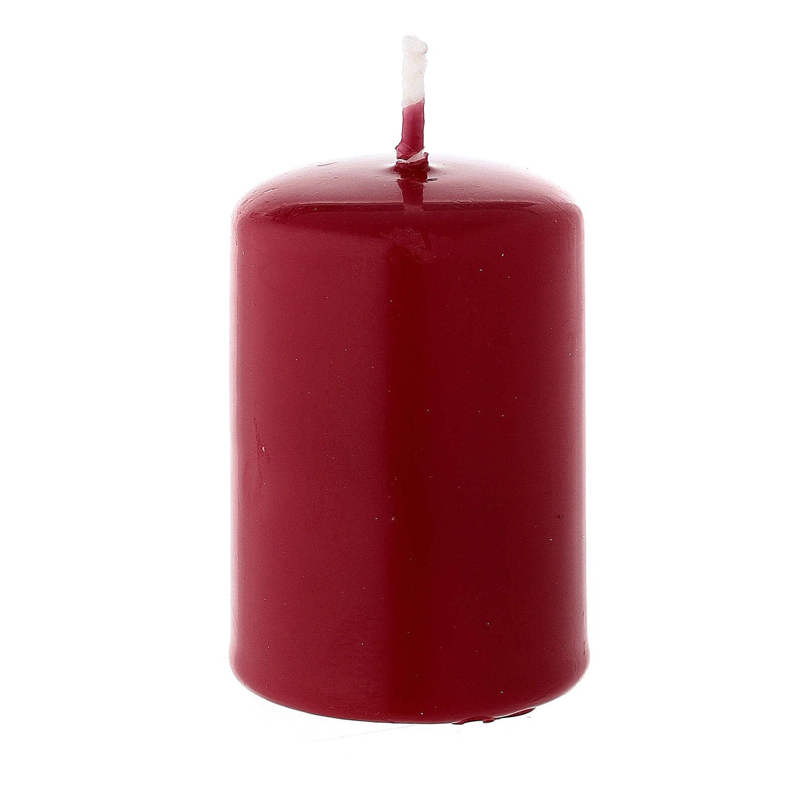 Bougie de Noël cylindre matte cire à cacheter rouge foncé 60x40 mm 3