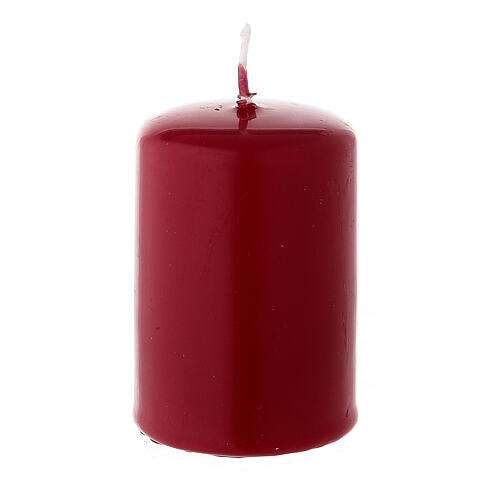 Christmas pillar candle in matte dark red 60x40 mm 2