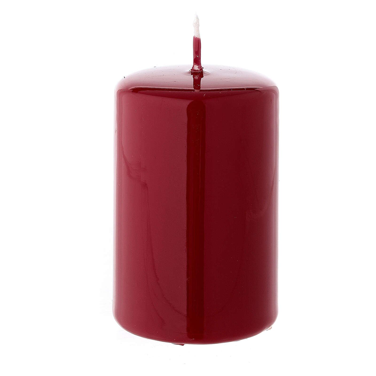 Shiny dark red Christmas pillar candle 80x50 mm 3