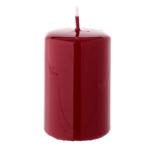 Shiny dark red Christmas pillar candle 80x50 mm 2